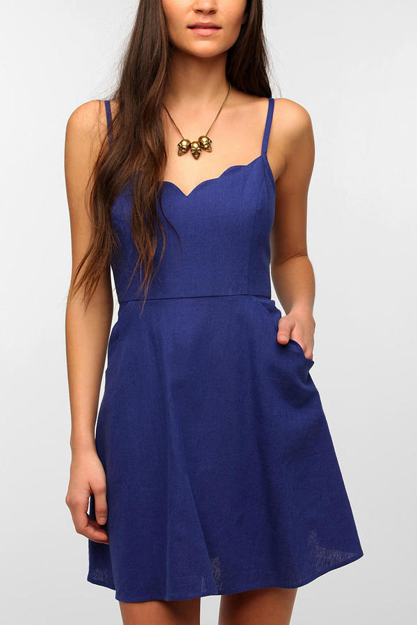 Urban Outfitters COPE Scallop-Trim Linen Dress
