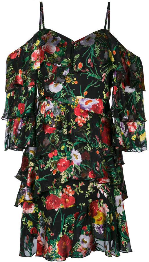 Alice+Olivia floral print frill trim mini dress