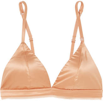 Love Stories - Darling Chiffon-trimmed Stretch-satin Soft-cup Triangle Bra - Sand