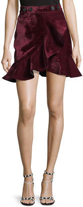 Self-Portrait Self Portrait Velvet Flounce Mini Skirt