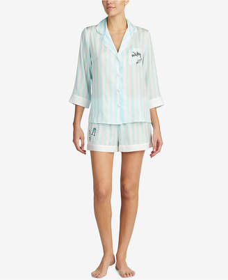 Betsey Johnson Blue by Contrast-Trim Pajama Set