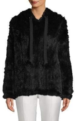 Adrienne Landau Rabbit Fur Hoodie