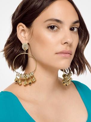 Michael Kors Gold-Tone Shell Hoop Earrings