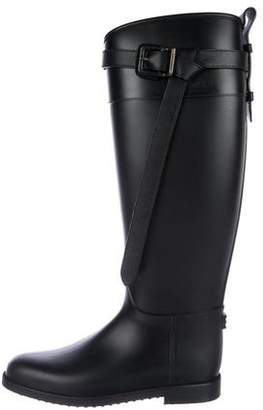 Burberry Rubber Round-Toe Knee-High Boots