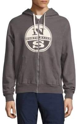 North Sails Logo Embossed Zip-Front Hoodie