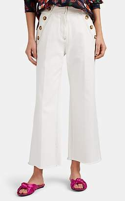 Derek Lam 10 Crosby Women's Button-Detailed Cotton Wide-Leg Culottes - White
