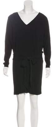 Haute Hippie V-Neck Sash Tie Dress Black V-Neck Sash Tie Dress