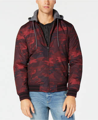 American Rag Men's Tonal Camouflage Hooded Bomber Jacket