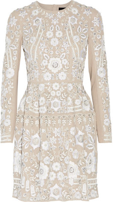 Needle & Thread - Snowdrop Embellished Embroidered Georgette Mini Dress - Beige $520 thestylecure.com