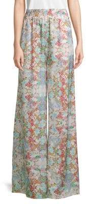 Pierre Balmain Silk Floral Wide-Leg Pants