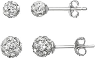 Primrose Sterling Silver Crystal Ball Earring Set