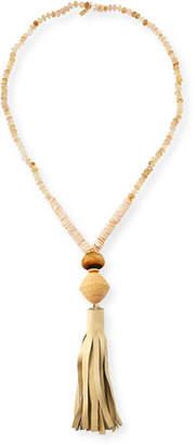 """Akola Leather Tassel Pendant Necklace, 38"""""""