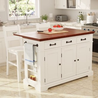 Inspired by Bassett Country Kitchen Island with Drop Leaf and 2 Stools in White