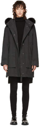 Yves Salomon Army Black Fur Long Coat