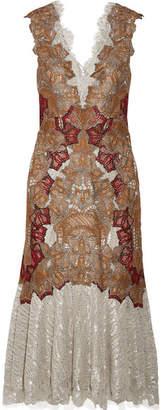 Jonathan Simkhai Appliquéd Metallic Fil Coupé Lace Midi Dress - Silver