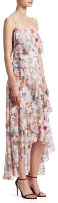 ML Monique Lhuillier Floral Chiffon High-Low Dress