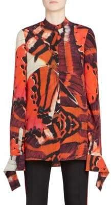 Alexander McQueen Monarch Butterfly-Print Slash Cuff Silk Shirt