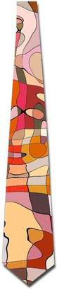 Camilla And Marc Gorgeous decoration Watercolor Colorful Geometry Men's Classic Silk Wide Tie Necktie (8 CM)