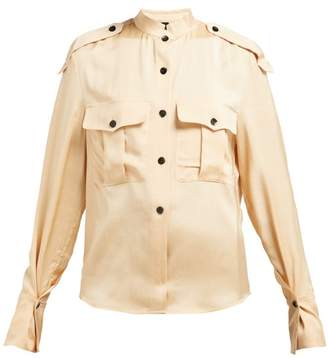 Petar Petrov Britta Flap Pocket Sateen Blouse - Womens - Beige