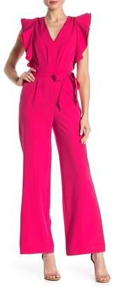 Alexia Admor Solid V-Neck Ruffle Sleeve Jumpsuit