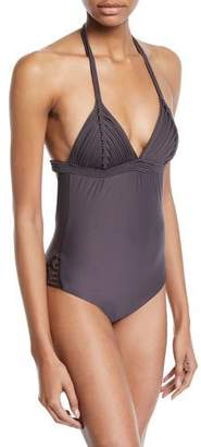 Pilyq Island Embroidered Halter One-Piece Swimsuit