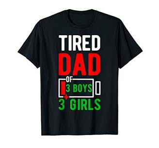 Mens Funny Tired Dad of 3 Boys 3 Girls Fathers Day Gifts T-s