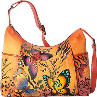 Anuschka Anna Hand Painted Large Shoulder Bag Animal Butterfly Tangerine