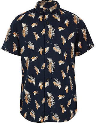 River Island Boys navy feather print shirt