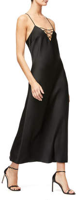 Good American Lace-Up Satin Dress - Inclusive Sizing
