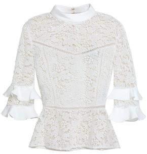 Rachel Zoe Alina Ruffled Cotton Lace Top