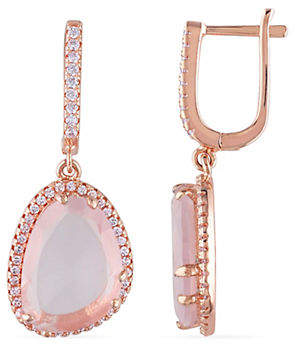 HBC CONCERTO Fancy Quartz and White Topaz Pink Sterling Silver Drop Earrings