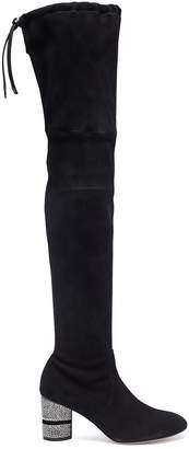 Stuart Weitzman 'Prism' strass heel stretch suede thigh high boots