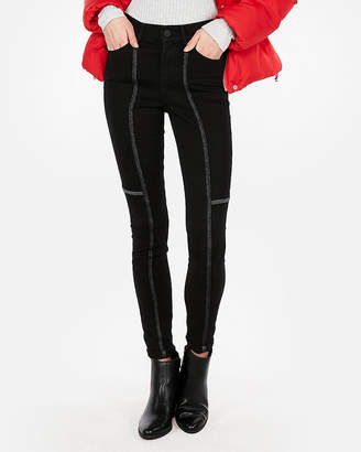 Express High Waisted Studded Contrast Stitch Stretch Jean Leggings