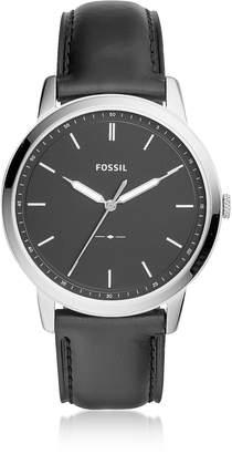 Fossil The Minimalist Three-Hand Black Leather Watch