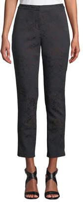 Kobi Halperin Alexandra Straight-Leg Damask-Jacquard Ankle Pants