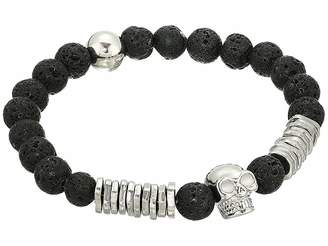 Steve Madden Lava Bead Skull Design Stretch Bracelet in Stainless Steel