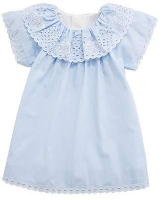 Chloé Cotton Dress w/ Eyelet Ruffle Collar, Size 6-18 Months