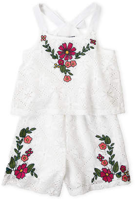 Truly Me Girls 7-16) White Embroidered Lace Romper