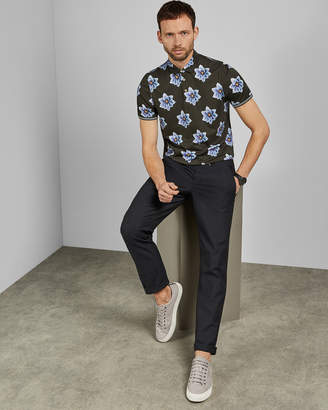 Ted Baker NELSO Floral printed cotton polo shirt