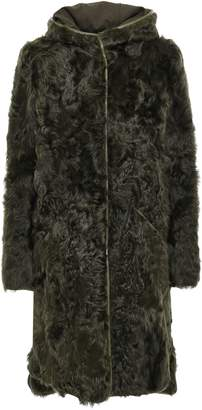 Stand Studio Leather-trimmed Shearling Hooded Coat