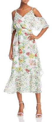 Nanette Lepore nanette Cold-Shoulder Floral Print Midi Dress