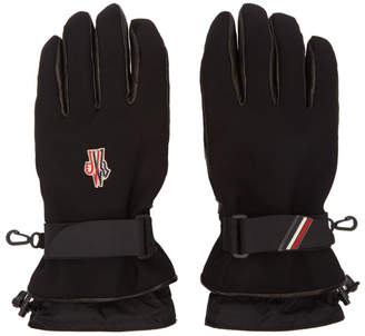 Moncler Black Canvas and Lambskin Gloves