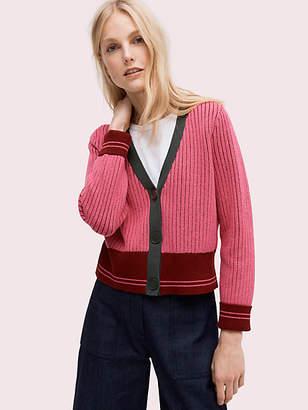 Kate Spade Contrast Rib Cardigan, Perfect Peony - Size L