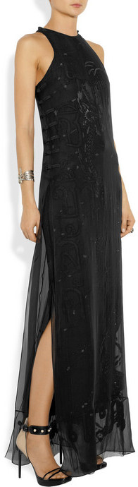 Emilio Pucci Layered embellished silk-chiffon and mesh gown