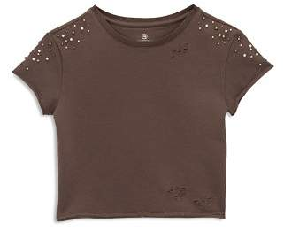 AG Adriano Goldschmied Kids Girls' Patti Distressed & Embellished Tee - Big Kid