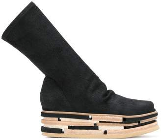 Rick Owens stacked platform high ankle boots