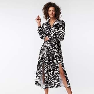 Wallis - Monochrome Zebra Print Split Shirt Dress