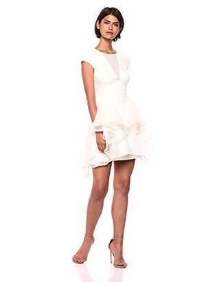 Halston Women's Cap Sleeve V Neck Lace Dress with Skirt Overlay