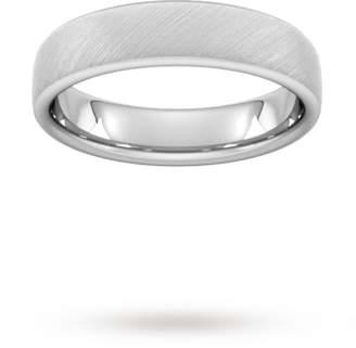 Palladium 4mm D Shape Standard diagonal matt finish Wedding Ring in 950