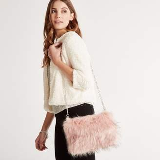 Apricot Pink Faux Fur Chain Strap Bag